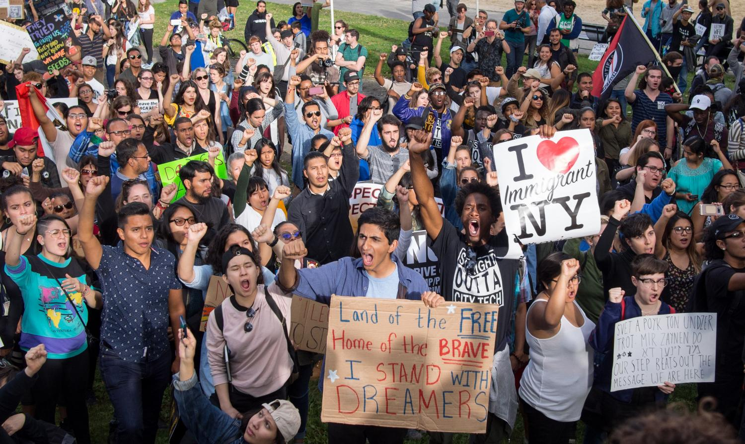 Protests to defend DACA have been widespread. This image was captured in Columbus Circle.