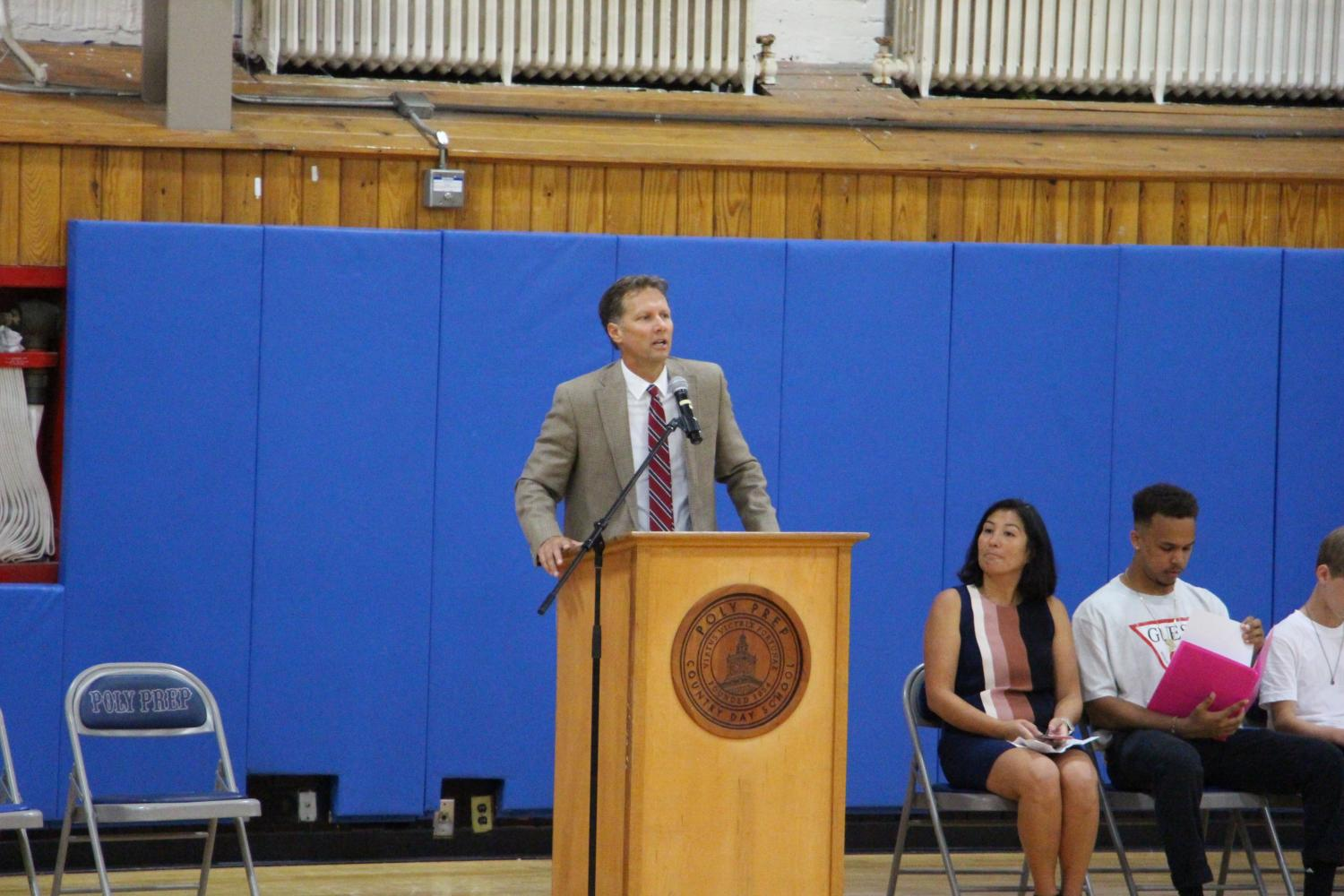 Head of School Audrius Barzdukas speaks to the Middle and Upper Schools at the Opening Assembly on September 5, 2017.