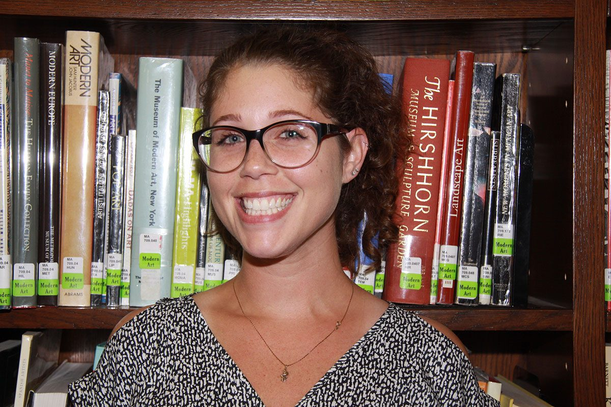 New librarian Allison Bean in the library.