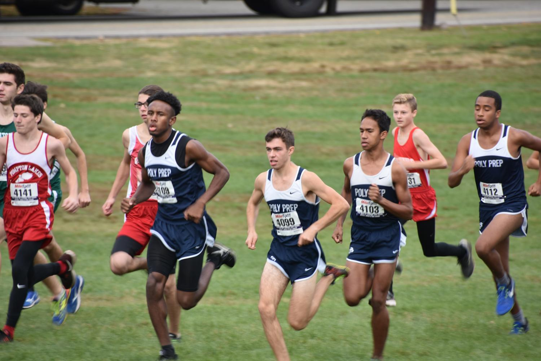 Senior Derrick Simmons (captain), junior Gabe Cannavo, senior Julien Hinz (captain), and junior Jett Williams compete in Woodland, New Jersey.