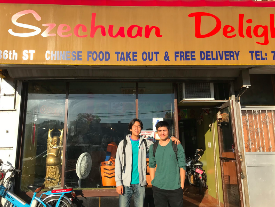 Chadd Chang-Venner and Kaito Tsukamoto in front of Szechuan Delight