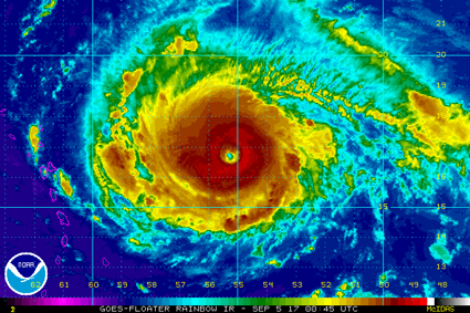 The eye of Hurricane Irma, which devastated many Caribbean islands and parts of Florida, causing over one hundred fatalities.
