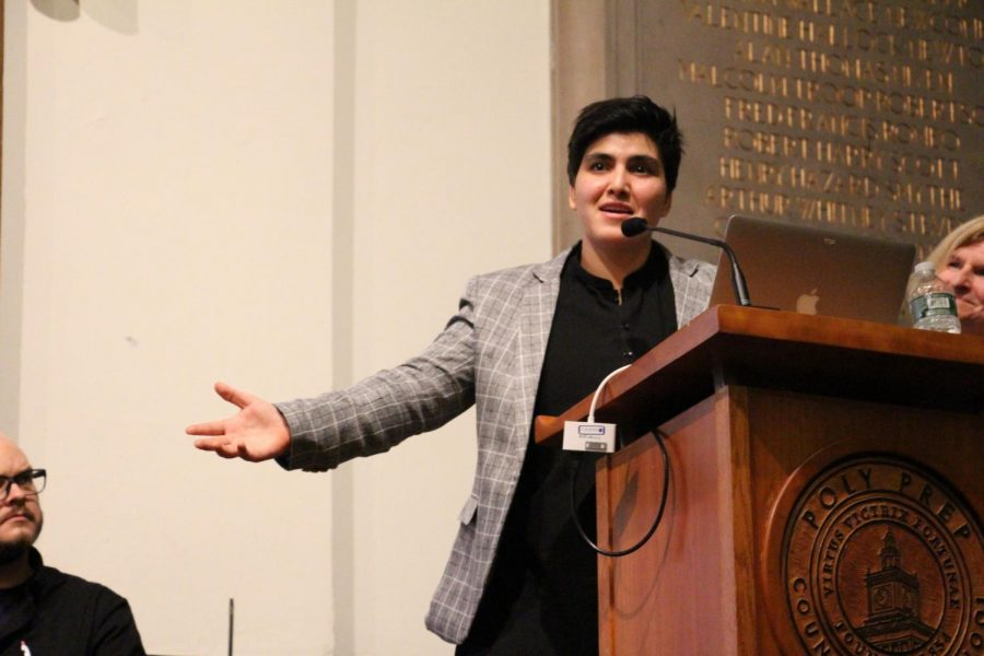 Professional squash player Maria Toorpakai Wazir addressed Poly students and faculty on Monday, November 27.