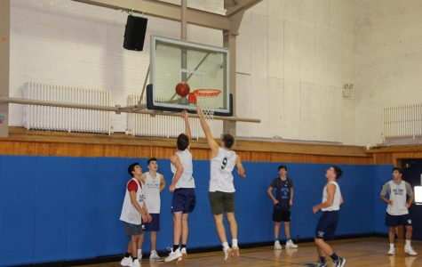 Members of the Boy's Varsity Basketball team during practice.