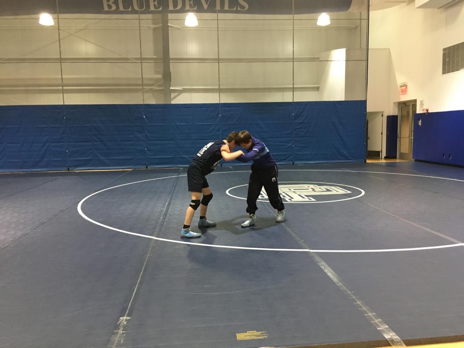 Members of the boys wrestling team practice at the Novogratz Center.
