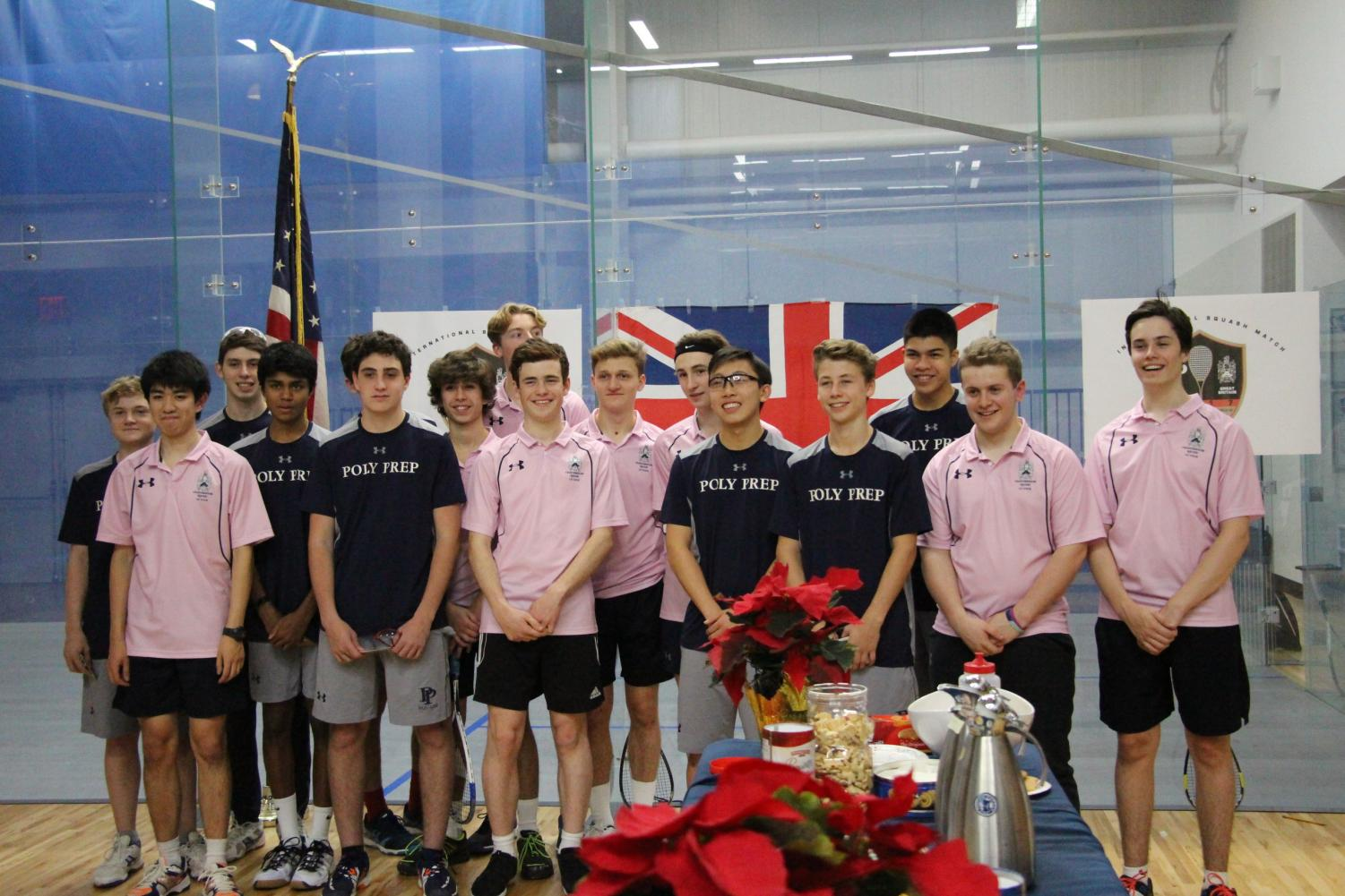 Poly Prep and Charterhouse Boys' Varsity Squash pose after their matches.
