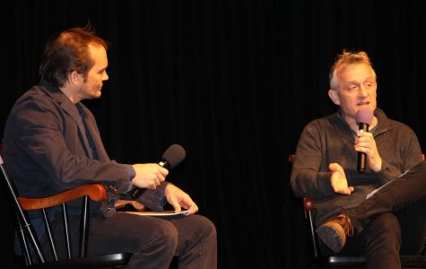 Burkhard Bilger in conversation with English teacher Sean Mullin.