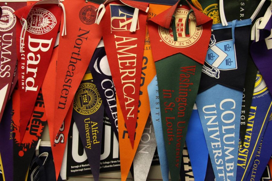 Flags outside the college counselors' offices.
