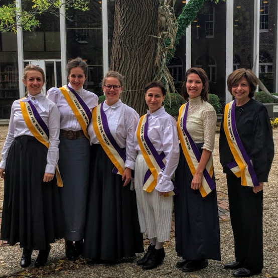 Davidson (second from left) and other history department members dressed up as suffragists for Halloween.