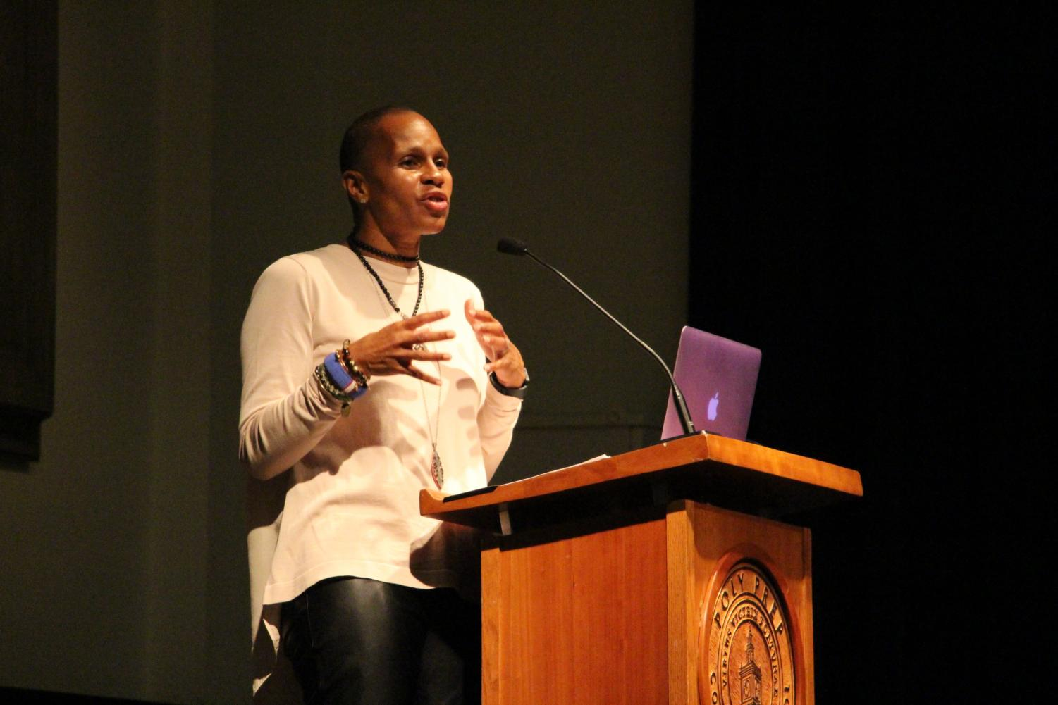 Poly alum Jeanine Liburd spoke to Poly students in assembly on Friday, January 12.