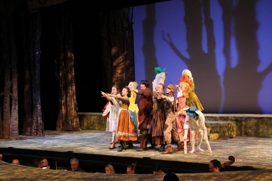 The cast of Into the Woods during one of their dress rehearsals.