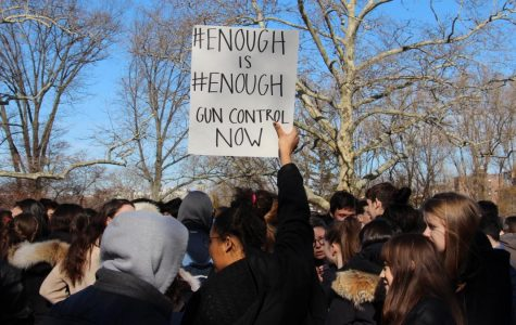 Senior Storm Bria-Bookhard held up a sign calling for increased gun control at the school walkout on Wednesday, March 14.