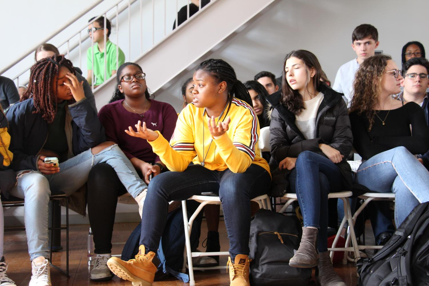 Junior Talisha Ward spoke during the community forum on Wednesday, March 14. The Poly community gathered in the Student Center to debate next steps.
