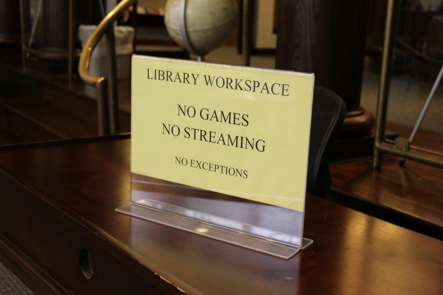 A sign in the library. Netflix is blocked from 8:30 am to 3:30 pm on weekdays.