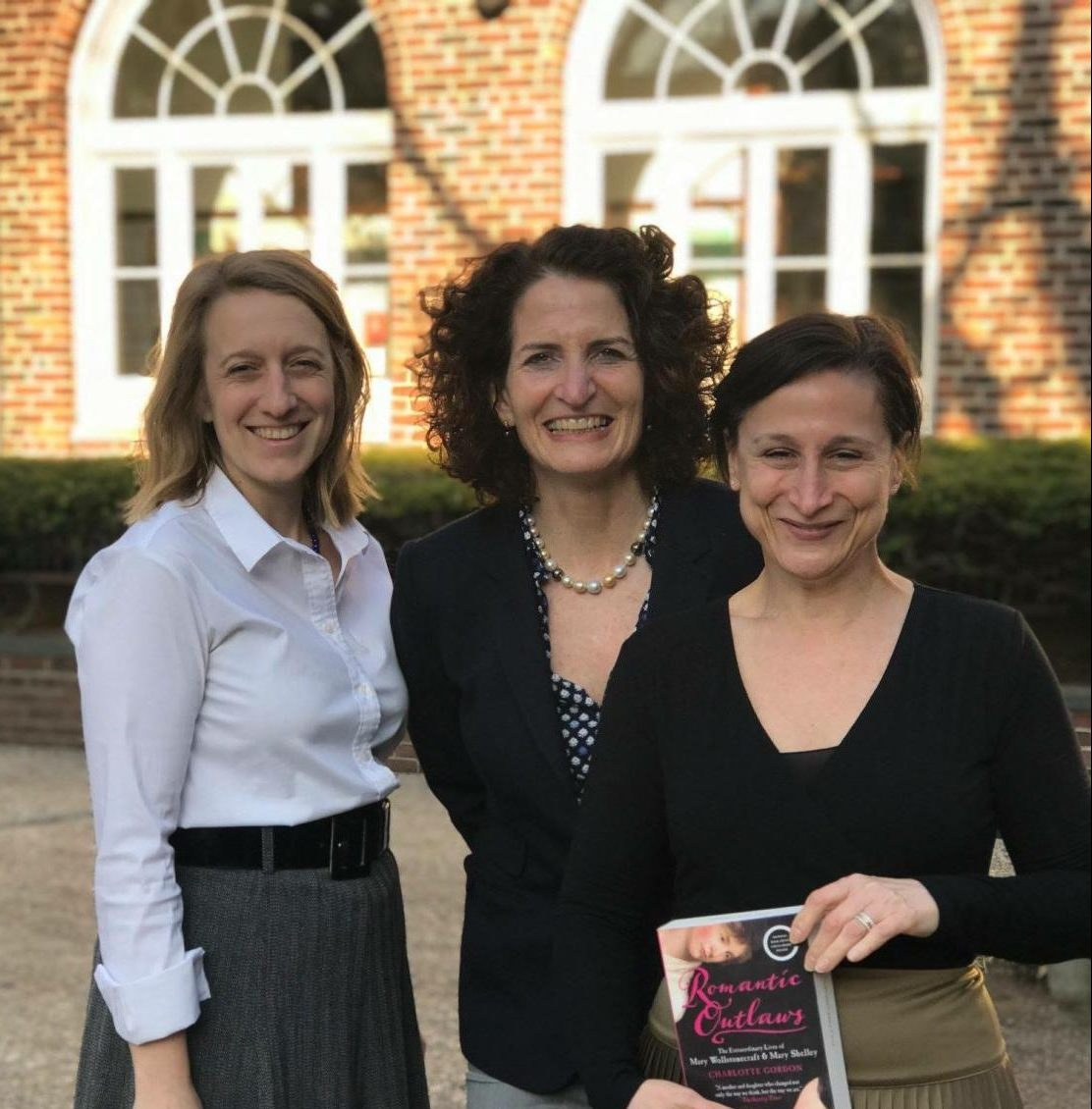 History teacher Virginia Dillon, Charlotte Gordon, and History Department Chair Michal Hershkovitz pose with Gordon's book