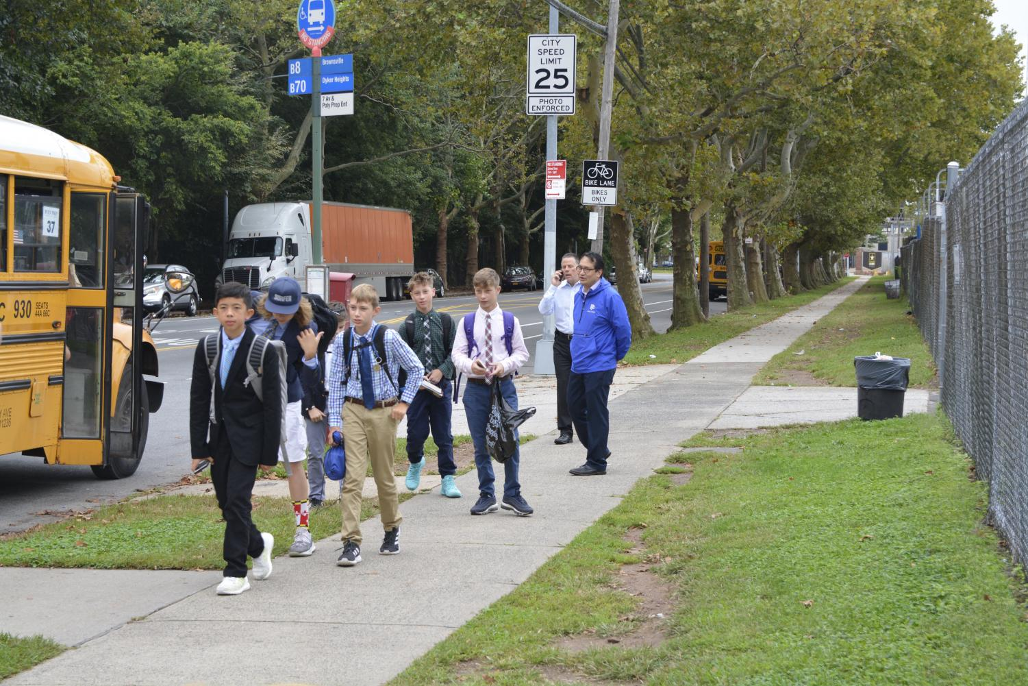 Students arrive to Poly's Dyker Heights Campus in the morning