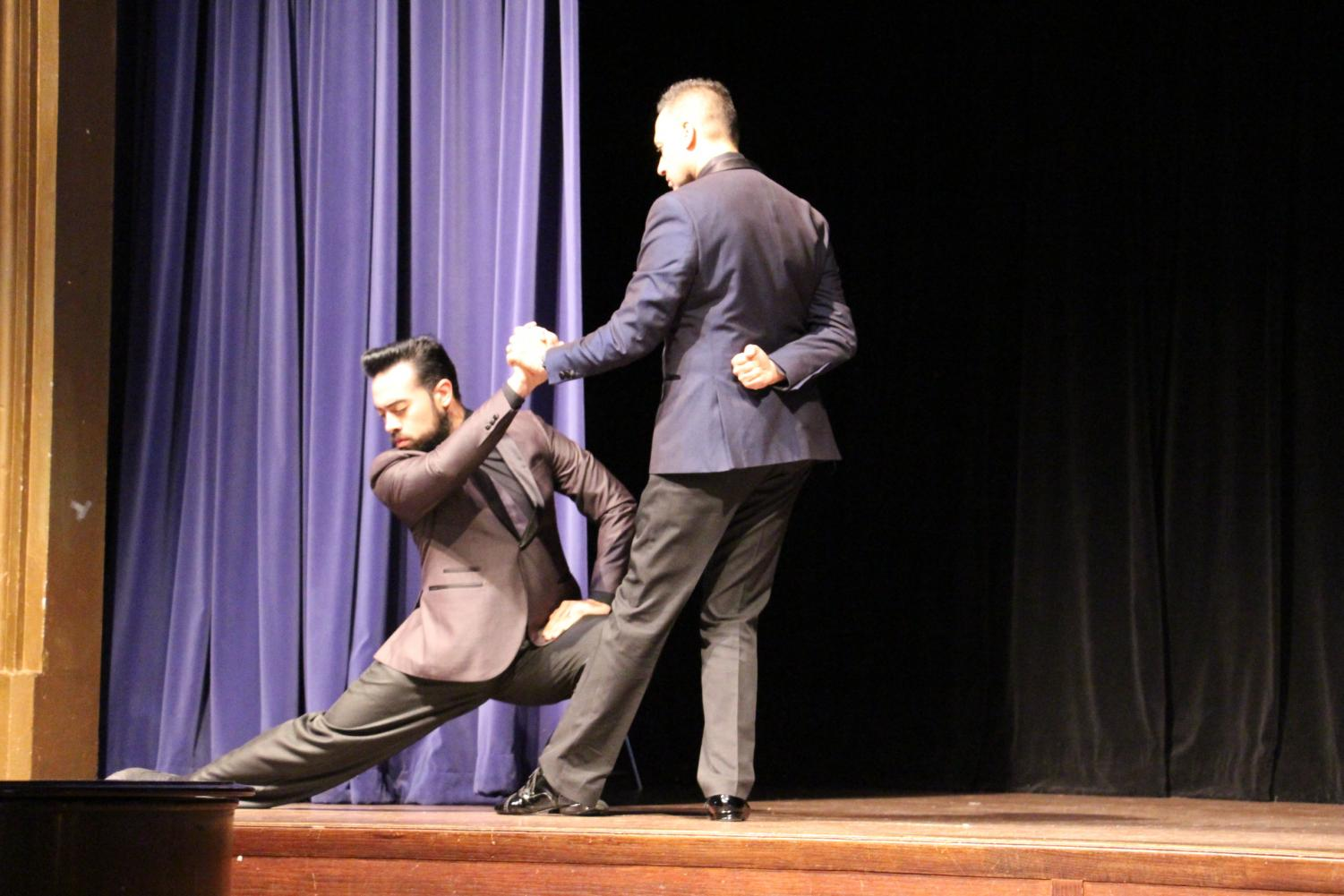 Tango dancers Walter Perez and Leonardo Sardella perform at Upper School Chapel on October 5th, 2018.