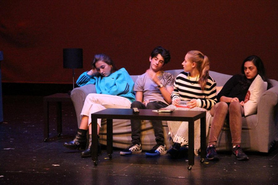 Sophomores+Nina+Ryan+and+Neo+Watsin+and+freshmen+Sophia+Cimmino+and+Samantha+Rodino+rehearse+for+their+upcoming+play+%22End+Days.%22+Come+see+the+performance+on+Friday%2C+October+26+in+the+Richard+Perry+Theater.
