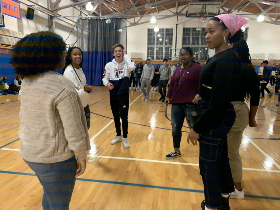 Upper schoolers tried to keep energy up during their long stay in the gym.