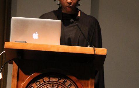 Mariama Diallo speaking behind podium