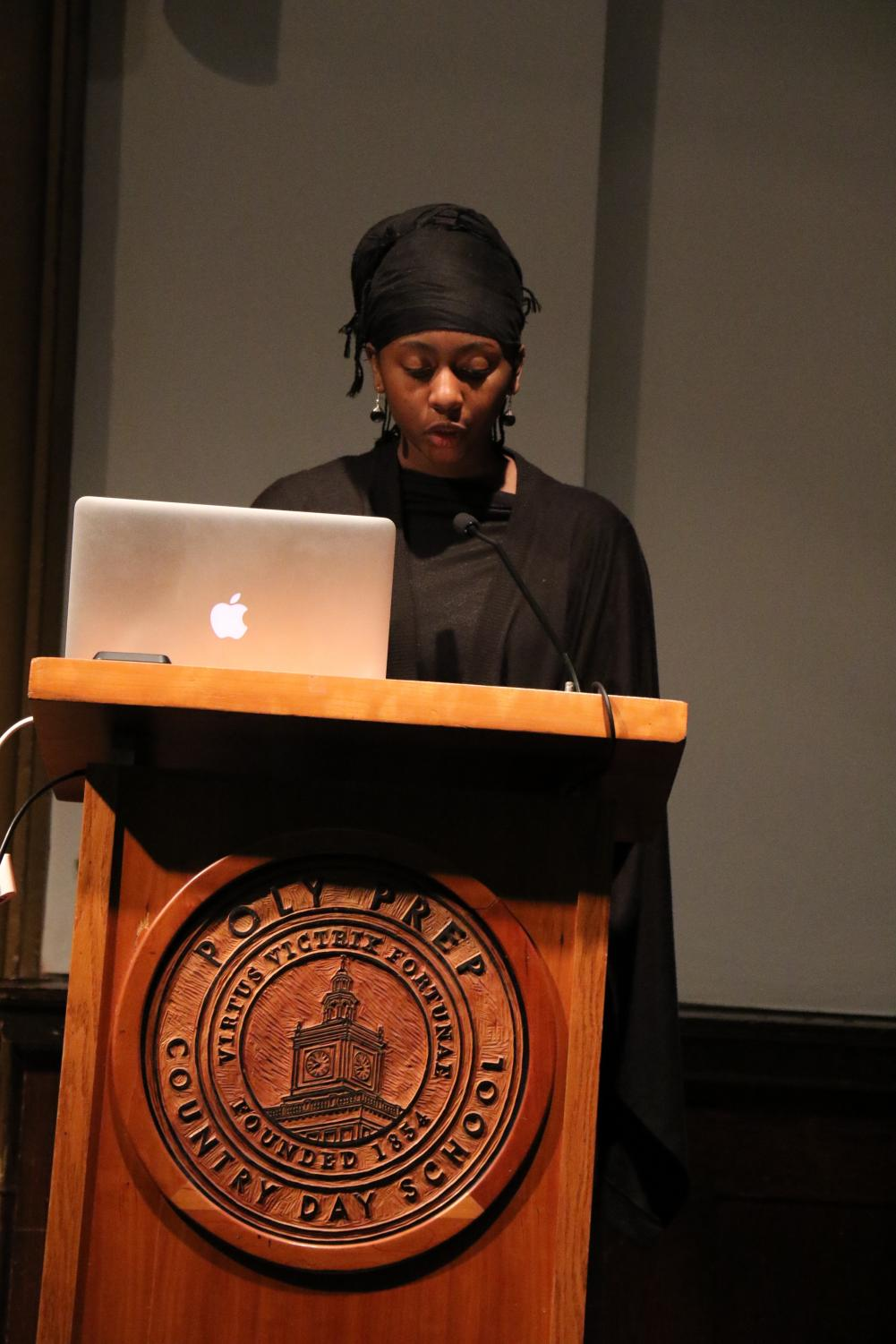 Mariama Diallo speaks about the blackout in this year's MLK Assembly.