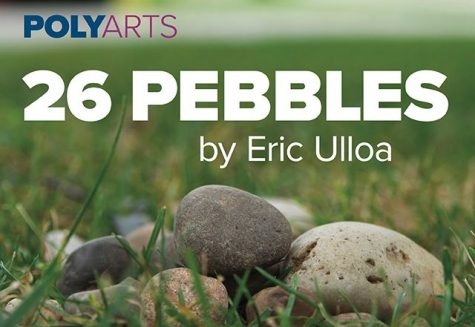 "A pile of small stones and pebbles surrounded by grass; the text reads ""POLYARTS 26 PEBBLES by Eric Ulloa"