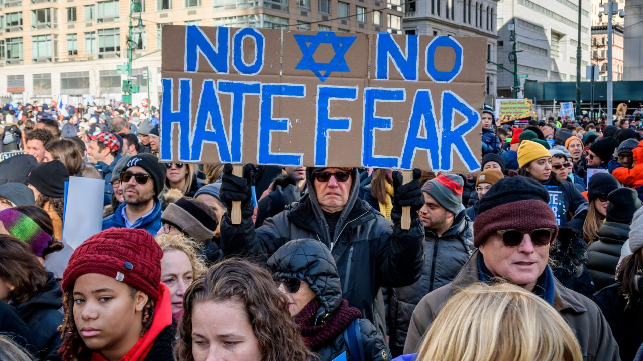 """Participants in the """"No Hate, No Fear"""" solidarity march in lower Manhattan, Jan. 5, 2020."""